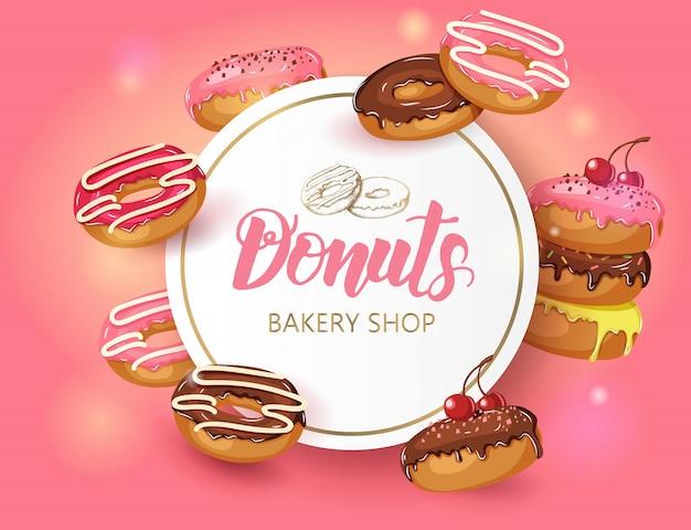 Moldura sweet arredondada com donuts e cereja em pó. design de comida do deserto