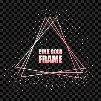 Moldura triangular realista de metal ouro rosa