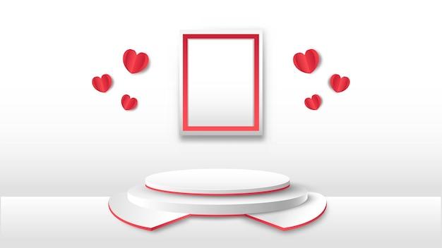 Moldura vazia com corações de papel vermelho e palco ou pódio 3d