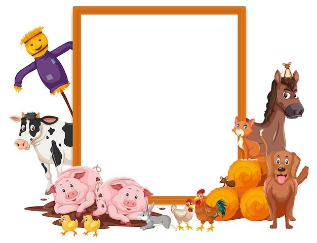 Moldura vazia com muitos animais de fazenda