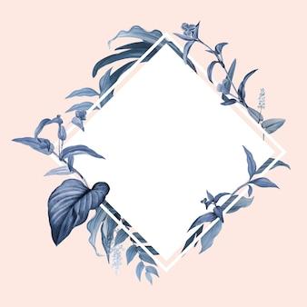 Moldura vazia com vetor de desenho de folhas azuis