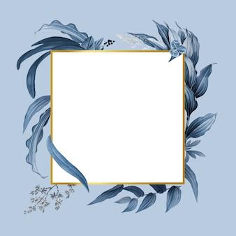Moldura vazia com vetor de design de folhas azuis