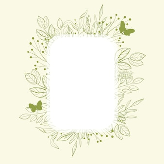 Moldura verde com folhas verdes e borboleta.