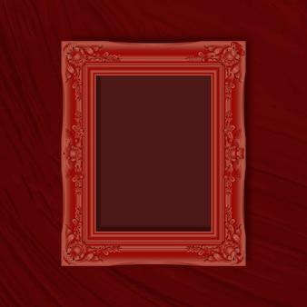 Moldura vermelha em uma parede vermelha Vetor grátis