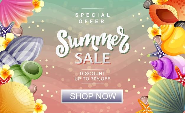 Moldura vertical de concha fofa para banner de venda de verão