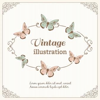 Moldura vintage com borboletas e tipografia