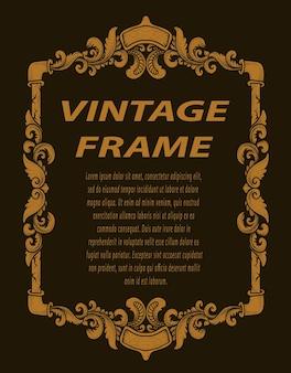 Moldura vintage com enfeite de gravura