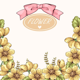 Moldura vintage desenhada de flor amarela mão