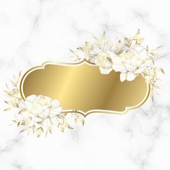 Moldura vintage dourada com flor rosa em fundo de mármore.