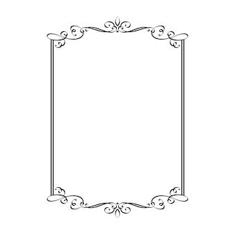 Moldura vintage para casamento moldura retangular caligráfica