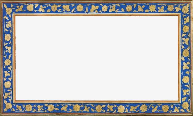 Moldura vintage retangular dourada e azul