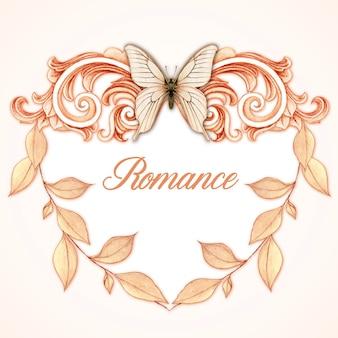 Moldura vitoriana romântica em forma de coração com folhas pastel e borboleta