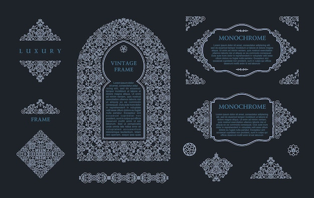 Molduras árabes e elementos e emblemas de contorno de design monocromático