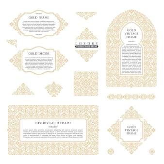 Molduras árabes e elementos e molduras douradas do modelo de design de arte