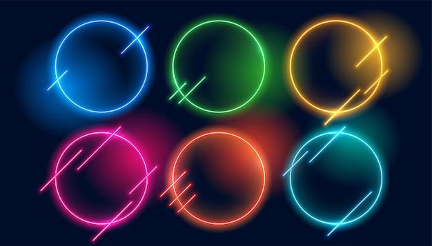 Molduras circulares de néon em várias cores