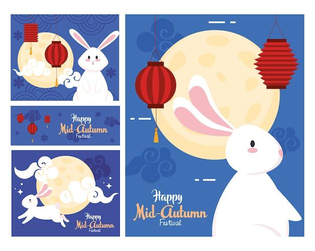 Molduras com design de luas e lanternas de coelhos, feliz festival da colheita do meio do outono chinês oriental e tema de celebração