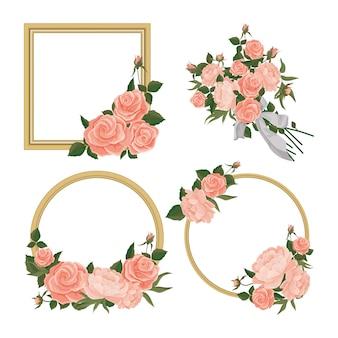 Molduras com rosas e peônias no estilo do conjunto shabby chic. molduras redondas e quadradas e buquê, ilustração vetorial
