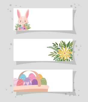 Molduras com um coelhinho rosa fofo, flor amarela e uma cesta cheia de desenhos de ilustração de ovos de páscoa