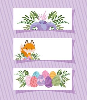 Molduras com uma linda raposa, flor roxa e ilustração de ovos de páscoa
