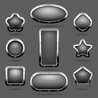 Molduras cromadas ou botões de painel de metal com ilustração vetorial de molduras