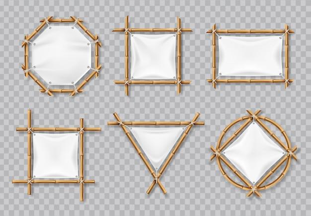 Molduras de bambu com lona branca. sinais de bambu chinês com banners em branco têxtil. conjunto isolado vector