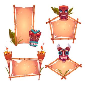 Molduras de bambu com máscaras tiki, pergaminho velho e tochas acesas