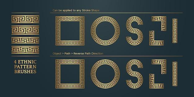 Molduras de bordas com padrão geométrico dourado vintage coleção étnica tradicional