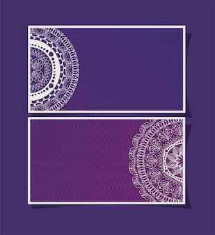 Molduras de cartões de mandalas em desenho de fundo roxo de ornamento boêmico