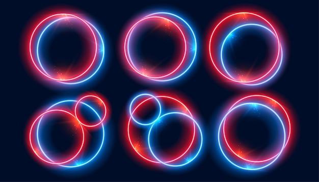 Molduras de círculo de néon definidas nas cores vermelha e azul