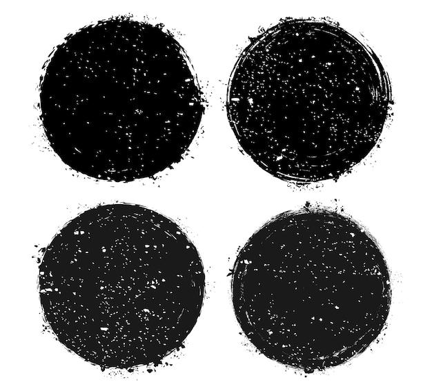 Molduras de círculo grunge preto