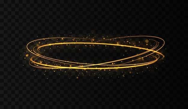 Molduras de círculos dourados com efeito de luz brilhante um flash dourado voa em um círculo em um anel luminoso