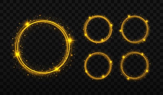 Molduras de círculos dourados com efeito de luz brilhante