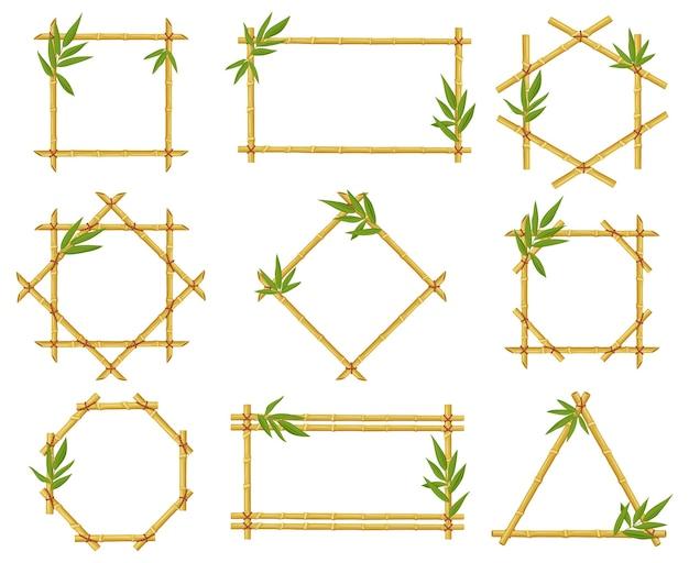 Molduras de desenho em bambu isoladas em branco