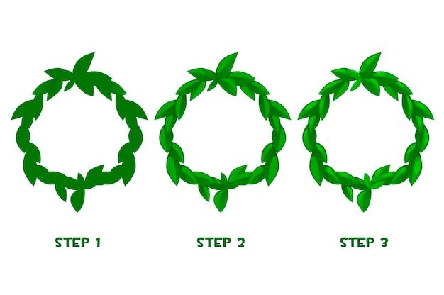 Molduras de folha de desenho animado, padrão verde em 3 etapas