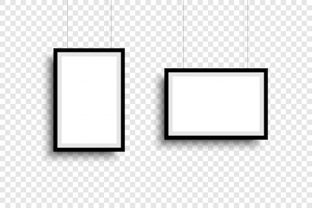 Molduras de foto. coleção molduras, isoladas. molduras para fotos modelo diferentes formas. plano de fundo transparente. ilustração