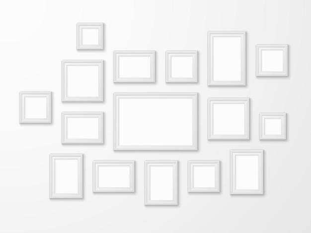 Molduras de imagens brancas em diferentes formas de ilustração