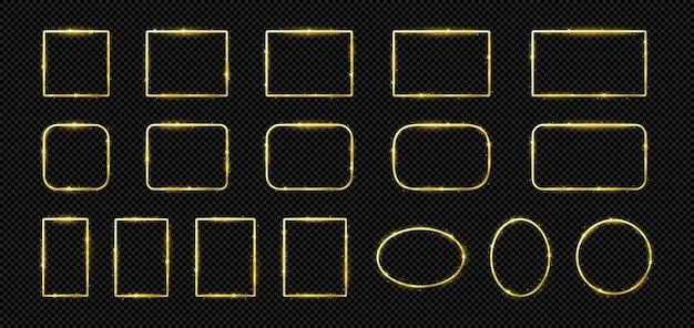 Molduras de linhas douradas brilhantes com efeito de brilho luxuoso