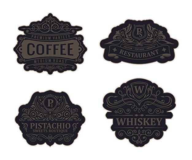 Molduras de luxo vintage com logotipos e emblemas pretos