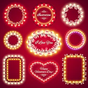 Molduras de luzes de dia dos namorados com um espaço de cópia set1