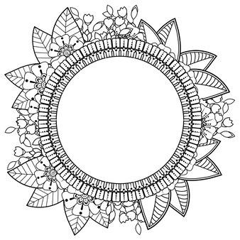 Molduras de mão desenhada com flor mehndi. decoração em étnico oriental, ornamento do doodle.