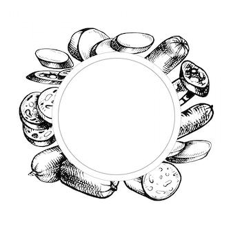 Molduras de mão desenhada. conjunto de salsichas. esboços de produtos à base de carne. ícones de comida à mão livre