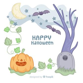 Molduras de mão desenhada halloween no meio da noite