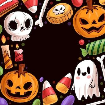 Molduras de mão desenhada halloween