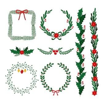 Molduras de natal desenhadas à mão e coleção de bordas