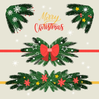 Molduras de natal e bordas em estilo desenhado à mão
