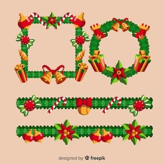 Molduras de natal e bordas feitas de folhas