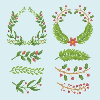Molduras de natal e bordas na mão desenhada