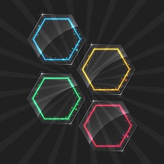 Molduras de néon com efeito de luz de cor diferente em fundo transparente