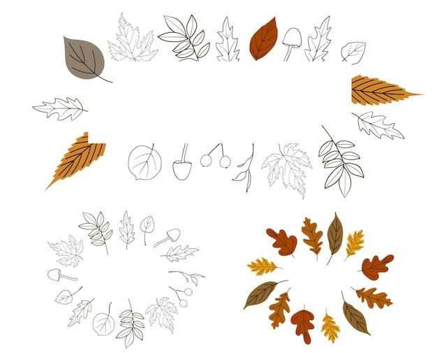 Molduras de outono para design de papel de parede Vetor Premium
