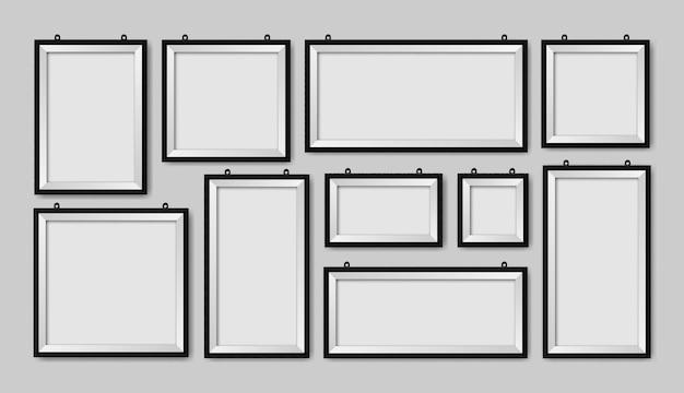Molduras de parede em branco realistas em diferentes tamanhos